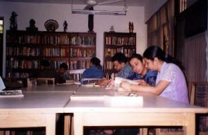 Library students reading